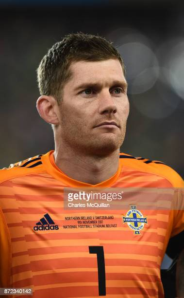 Michael McGovern of Northern Ireland during the FIFA 2018 World Cup Qualifier Play-Off first leg between Northern Ireland and Switzerland at Windsor...