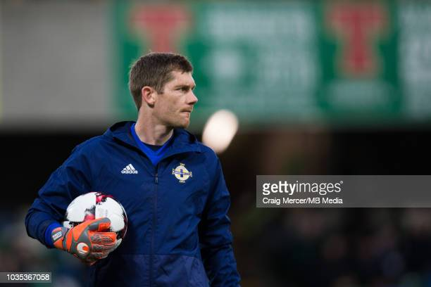 Michael McGovern of Northern Ireland during the pre-match warm-up during the International Friendly match between Northern Ireland and Israel at...