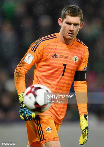 Michael McGovern of Northern Ireland in action during the FIFA 2018 World Cup Qualifier Play-Off: First Leg between Northern Ireland and Switzerland...
