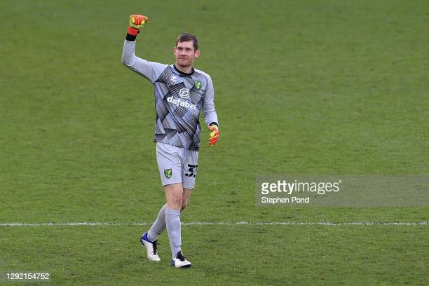 Michael McGovern of Norwich City celebrates victory following the Sky Bet Championship match between Norwich City and Cardiff City at Carrow Road on...