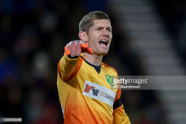 Michael McGovern of Norwich City during the Carabao Cup Fourth Round match between AFC Bournemouth and Norwich City at Vitality Stadium on October...