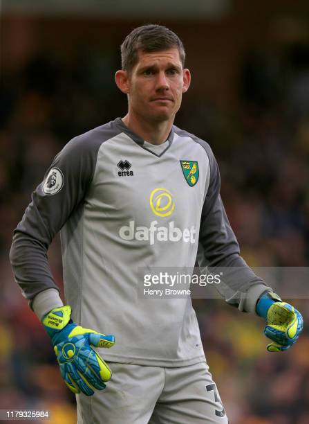 Michael McGovern of Norwich City during the Premier League match between Norwich City and Aston Villa at Carrow Road on October 5, 2019 in Norwich,...