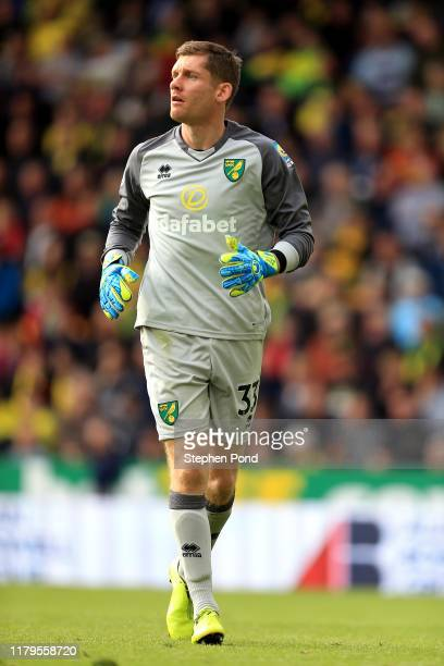 Michael McGovern of Norwich City during the Premier League match between Norwich City and Aston Villa at Carrow Road on October 05, 2019 in Norwich,...
