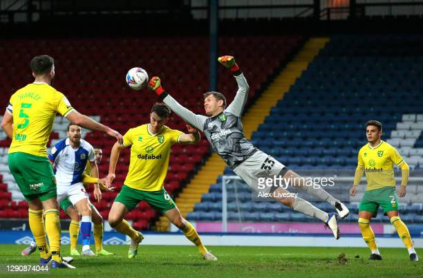 Michael McGovern of Norwich City punches the ball clear during the Sky Bet Championship match between Blackburn Rovers and Norwich City at Ewood Park...