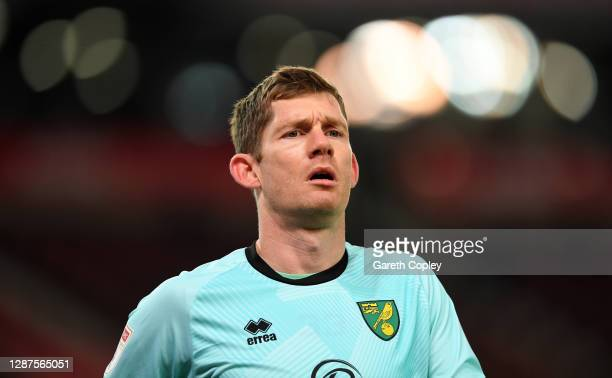 Michael McGovern of Norwich during the Sky Bet Championship match between Stoke City and Norwich City at Bet365 Stadium on November 24, 2020 in Stoke...