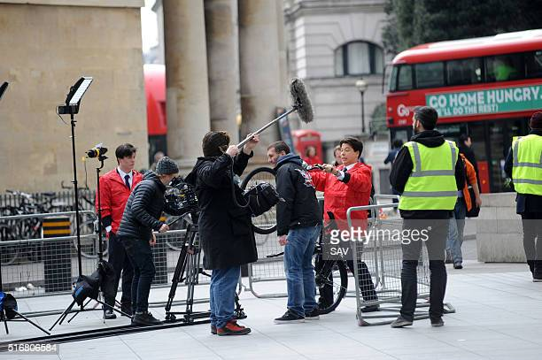 Michael McIntyre and Carol Kirkwood film outside BBC Radio 1 on March 21 2016 in London England