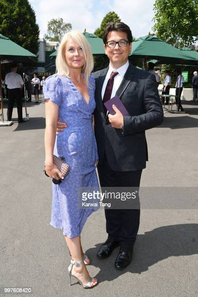 Michael McIntyre and his wife Kitty McIntyre attend day eleven of the Wimbledon Tennis Championships at the All England Lawn Tennis and Croquet Club...