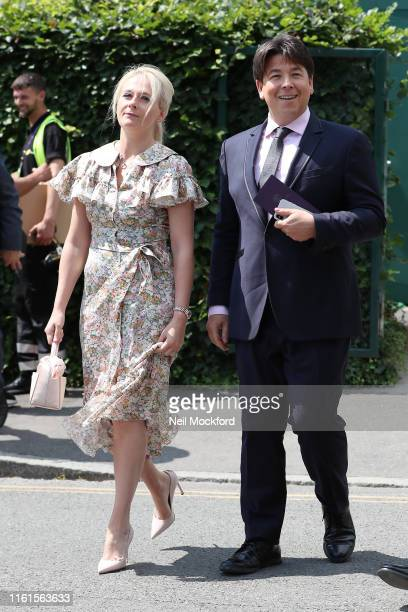 Michael McIntyre and Kitty McIntyre attend day 11 the Mens semifinals at the Wimbledon 2019 Tennis Championships at All England Lawn Tennis and...