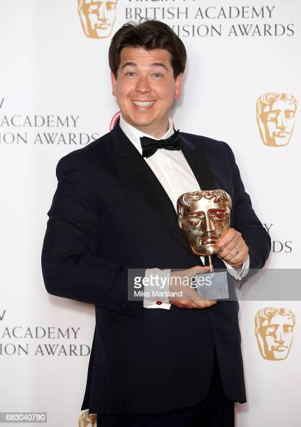 Michael McIntyre, winner of the Entertainment Performance award poses in the Winner's room at the Virgin TV BAFTA Television Awards at The Royal...