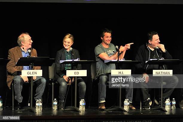 Michael McKean Amy Poehler Timothy Olyphant and Jeff Garlin attend Film Independent's live read of 'Raising Arizona' directed by Patton Oswalt at...
