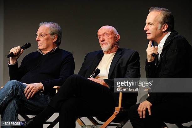 Michael McKean Jonathan Banks and Bob Odenkirk attend Apple Store Soho Presents Meet The Cast 'Better Call Saul' at Apple Store Soho on February 6...