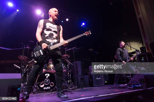 Michael McKeegan and Andy Cairns of Therapy perform on stage at O2 Academy Glasgow on March 8 2018 in Glasgow Scotland