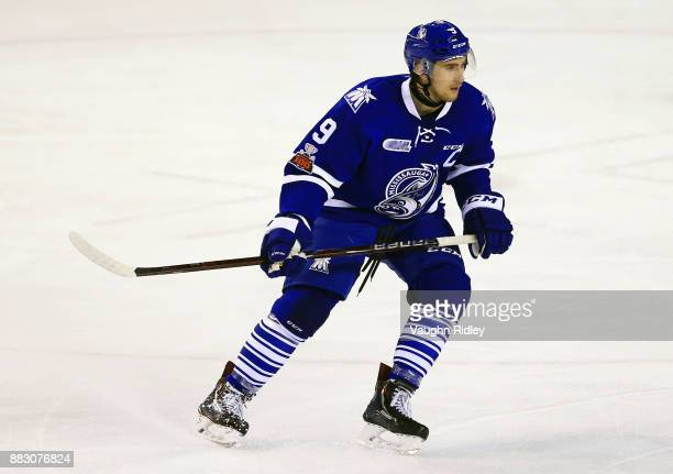 Michael McLeod of the Mississauga Steelheads watches the puck during an OHL game against the Niagara IceDogs at the Meridian Centre on November 25...
