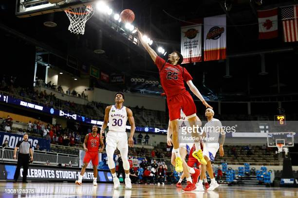 Michael Meadows of the Eastern Washington Eagles drives to the basket during the first half against the Kansas Jayhawks in the first round game of...