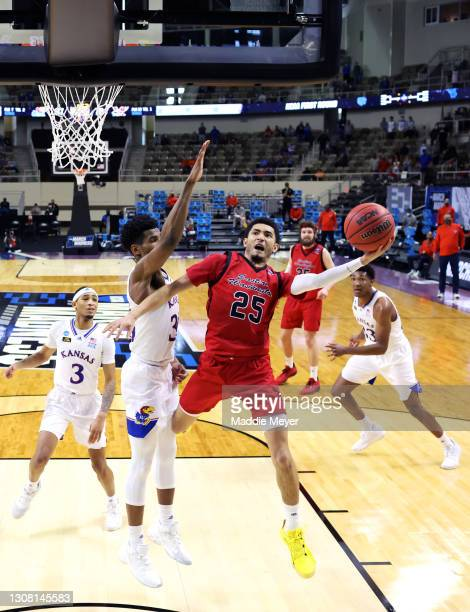 Michael Meadows of the Eastern Washington Eagles takes a shot against the Kansas Jayhawks at Indiana Farmers Coliseum on March 20, 2021 in...
