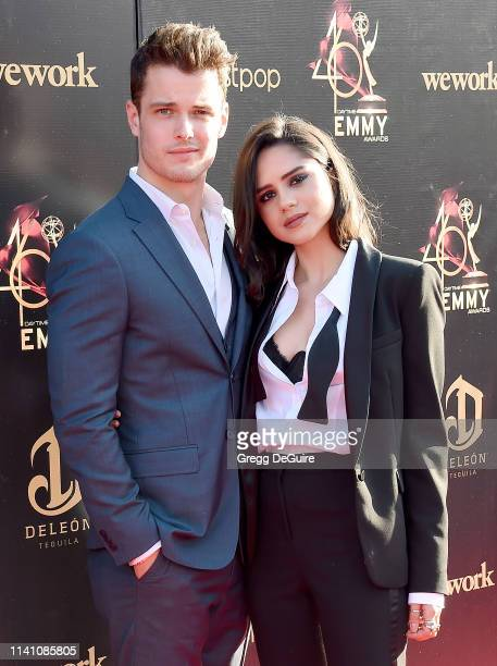 Michael Mealor and Sasha Calle arrive at the 46th Annual Daytime Creative Arts Emmy Awards at Pasadena Civic Center on May 3, 2019 in Pasadena,...
