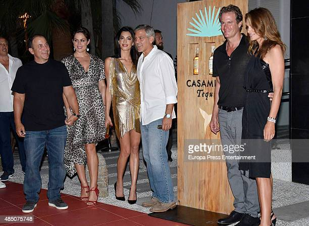 Michael Meldman, Monica Gambee, Amal Alamuddin, George Clooney, Rande Gerber and Cindy Crawford host the official launch of Casamigos Tequila in...