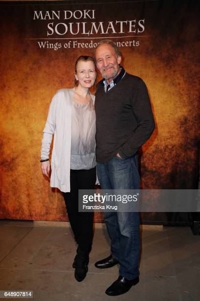 Michael Mendl and his girlfriend Gesine Friedmann attend the Man Doki Soulmates Wings Of Freedom Concert in Berlin on March 6 2017 in Berlin Germany