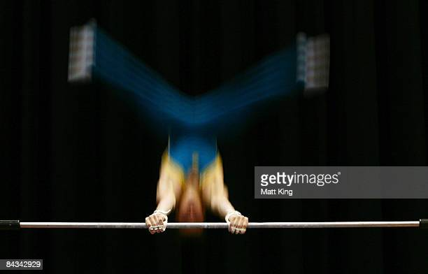 Michael Mercieca of Australia competes in the Men's Horizontal Bar Final during day five of the Australian Youth Olympic Festival at Sydney Olympic...