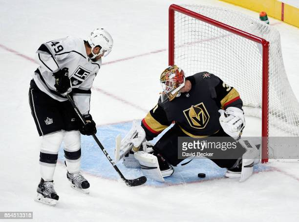 Michael Mersch of the Los Angeles Kings shoots against goalie Calvin Pickard of the Vegas Golden Knights at TMobile Arena on September 26 2017 in Las...