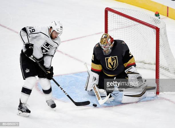 Michael Mersch of the Los Angeles Kings shoots against goalie Calvin Pickard of the Vegas Golden Knights during a preseason game at TMobile Arena on...
