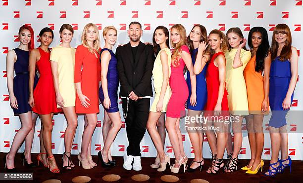 Michael Michalsky and the 12 Models during the Germany's Next Topmodel 2016 Photo Call at the Marriot Hotel on March 21 2016 in Berlin Germany