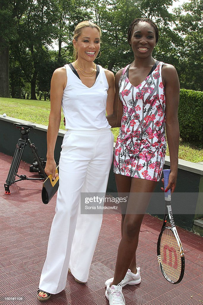 Michael Michele and Venus Williams attend the EleVen by Venus Williams party on August 11, 2012 in Southampton, New York.