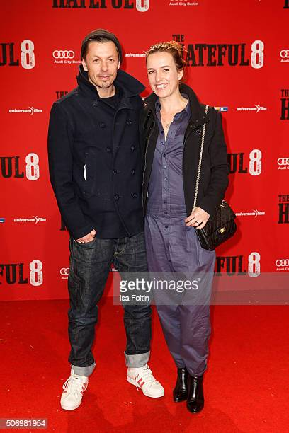 Michael 'Michi' Beck and his wife Ulrike Fleischer attend the premiere of 'The Hateful 8' at Zoo Palast on January 26 2016 in Berlin Germany