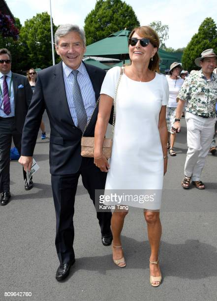Michael Middleton and Carole Middleton attend day four of the Wimbledon Tennis Championships at the All England Lawn Tennis and Croquet Club on July...