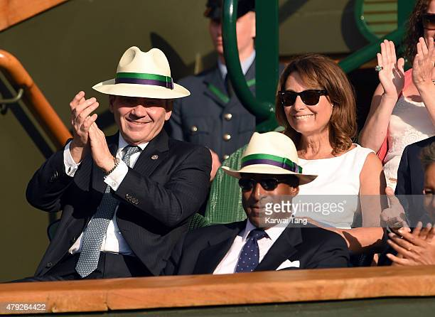 Michael Middleton and Carole Middleton attend the Dustin Brown v Rafael Nadal match on day four of the Wimbledon Tennis Championships at Wimbledon on...