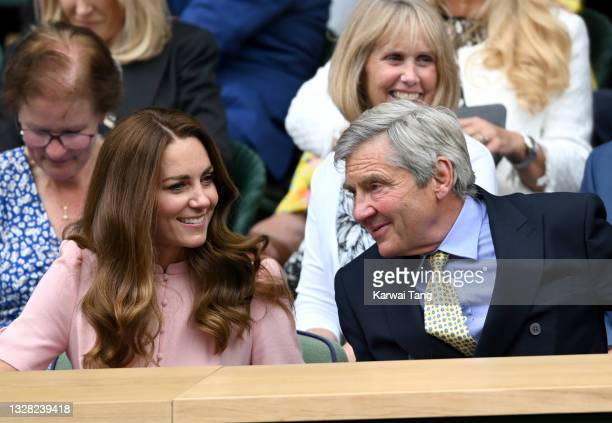 Michael Middleton and Catherine, Duchess of Cambridge attend day 13 of the Wimbledon Tennis Championships at All England Lawn Tennis and Croquet Club...