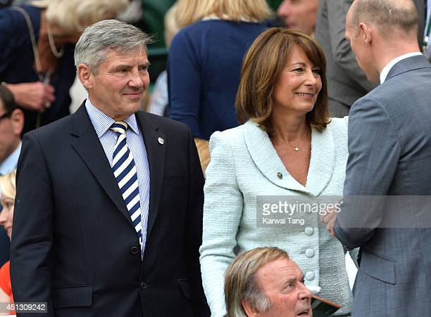 Michael Middleton Carole Middleton and Matt Dawson attend the Noval Djokovic v Gilles Simon match on centre court during day five of the Wimbledon...