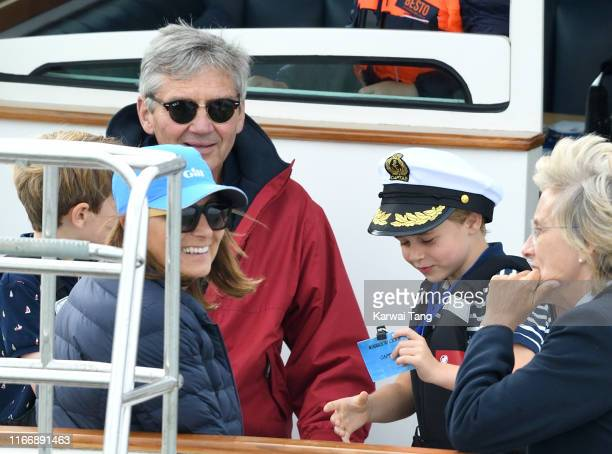 Michael Middleton, Carole Middleton and Prince George attend the King's Cup Regatta on August 08, 2019 in Cowes, England.