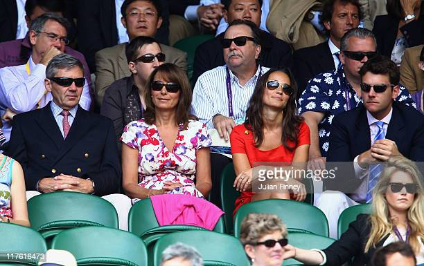 Michael Middleton Carole Middleton Pippa Middleton and Alex Loudon attend the quarterfinal round match between Roger Federer of Switzerland and...