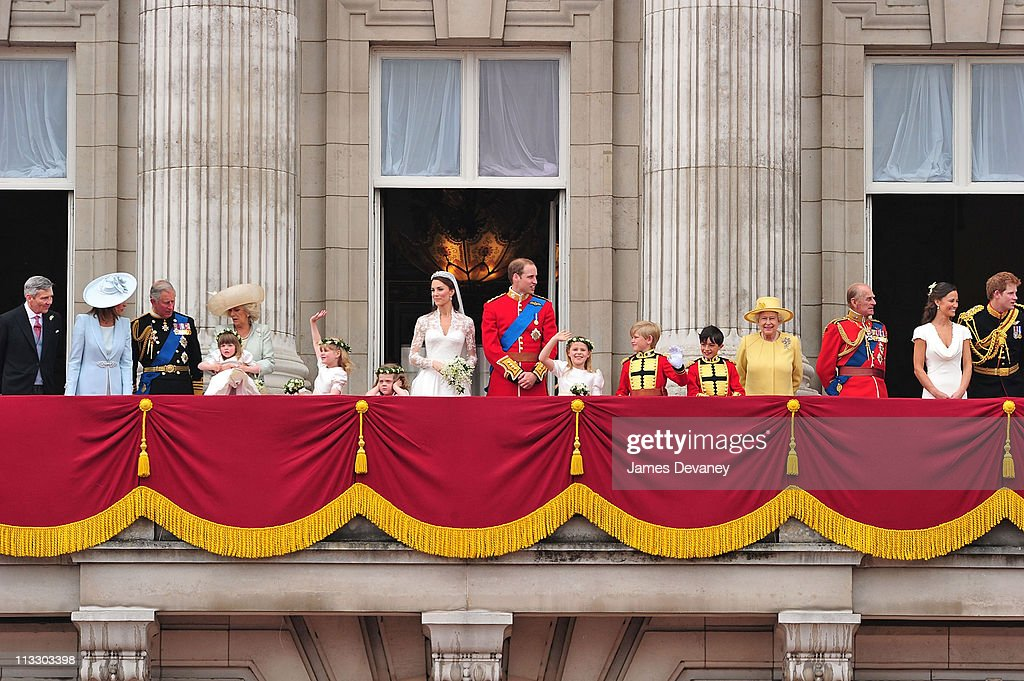 Michael Middleton, Carole Middleton, Prince Charles, Prince of Wales, Camilla, Duchess of Cornwall, Catherine, Duchess of Cambridge, Prince William, Duke of Cambridge, HRH Queen Elizabeth II, Prince Philip, Duke of Edinburgh, Pippa Middleton and Prince Harry greet crowd of admirers from the balcony of Buckingham Palace on April 29, 2011 in London, England.