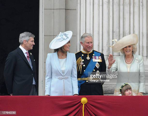 Michael Middleton Carole Middleton Prince Charles Prince of Wales Camilla Duchess of Cornwall and Eliza Lopes stand on balcony of Buckingham Palace...
