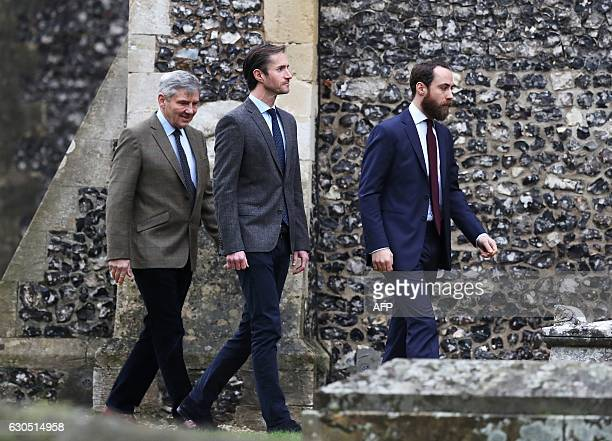Michael Middleton James Matthews and James Middleton arrive to attend a Christmas Day service at St Mark's Church in Englefield on December 25 2016 /...