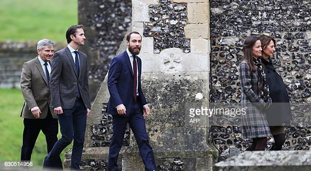 Michael Middleton James Matthews James Middleton Pippa Middleton and Carole Middleton arrive to attend a Christmas Day service at St Mark's Church in...