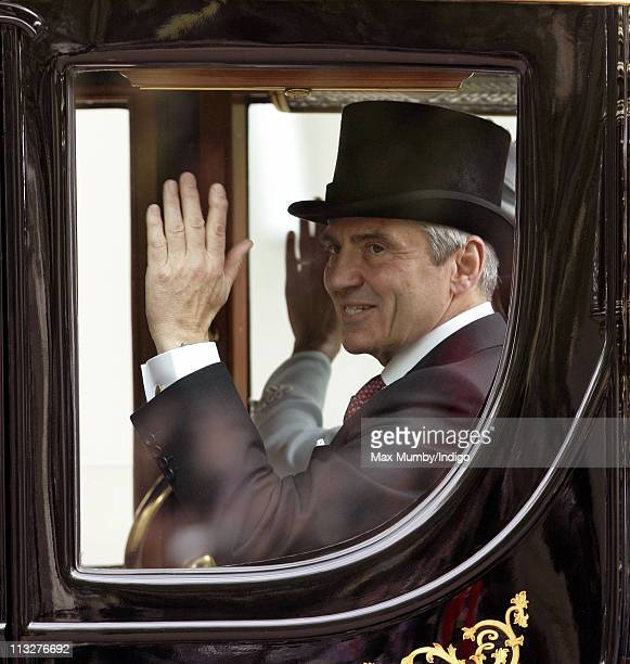 Michael Middleton travels down The Mall on route to Buckingham Palace in a horse drawn carriage following Prince William Duke of Cambridge and...