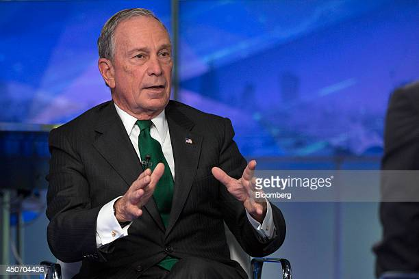 Michael 'Mike' Bloomberg Bloomberg LP founder and former mayor of New York City gestures during a Bloomberg Television interview in London UK on...