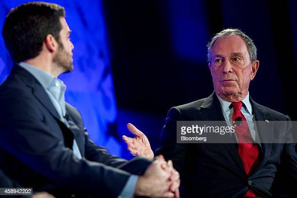 """Michael """"Mike"""" Bloomberg, founder of Bloomberg LP and former mayor of New York City, right, speaks during a panel discussion with Jeff Weiner, chief..."""