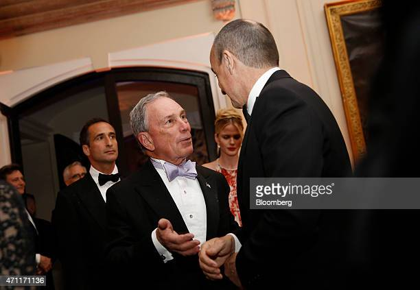 Michael 'Mike' Bloomberg founder of Bloomberg LP left attends the Bloomberg Vanity Fair White House Correspondents' Association dinner afterparty in...