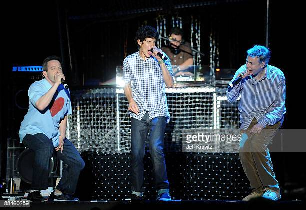 """Michael """"Mike D"""" Diamond , Adam """"Ad-Rock"""" Horovitz and Adam """"MCA"""" Yauch of Beastie Boys perform on stage during Bonnaroo 2009 on June 12, 2009 in..."""