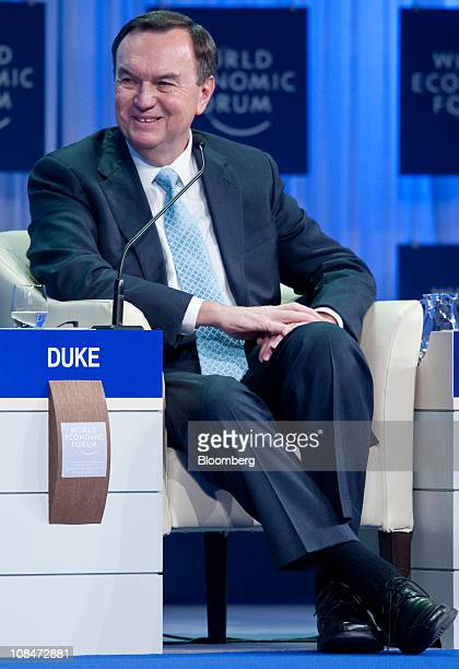 Michael 'Mike' Duke chief executive officer of WalMart Stores Inc listens during a session on the third day of the World Economic Forum Annual...