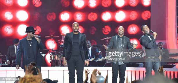 Michael Mike Keith Daron Jones Marvin Slim Scandrick and Quinnes 'Q' Parker of 112 perform during the 2017 Soul Train Music Awards at the Orleans...