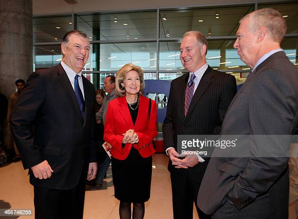 Michael Mike Rawlings mayor of Dallas from left Senator Kay Bailey Hutchison a Republican from Texas Gary Kelly president and chief executive officer...