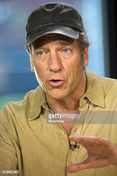 Michael 'Mike' Rowe former host of 'Dirty Jobs' speaks during a Bloomberg West Television interview in San Francisco California US on Thursday Feb 27...