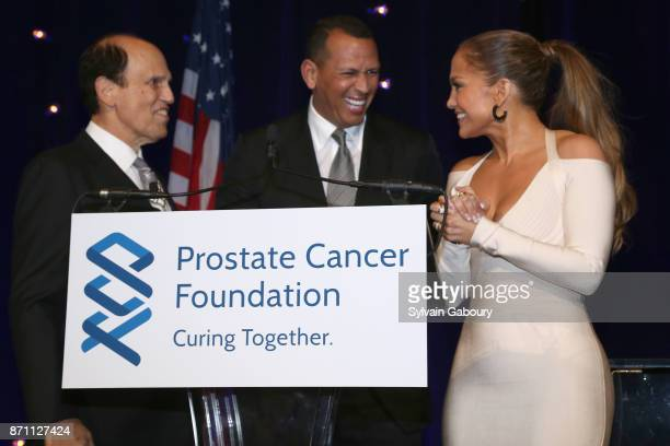 Michael Milken Alex Rodriguez and Jennifer Lopez attend Prostate Cancer Foundation Presents the 2017 New York Dinner on November 6 2017 in New York...