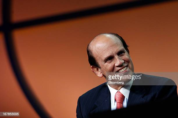 Michael Milken chairman of the Milken Institute listens during an interview with Tony Blair former UK prime minister unseen at the Milken Institute...