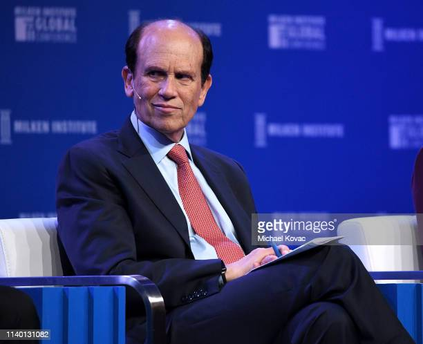 Michael Milken chairman of the Milken Institute participates in a panel discussion during the annual Milken Institute Global Conference at The...